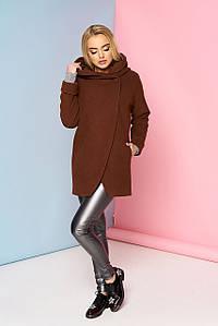 Пальто короткое с капюшоном коричневое