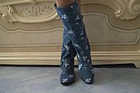 Сапоги джинс с вышивкой, на низком каблуке. Размеры: 36-42,  код 4135О