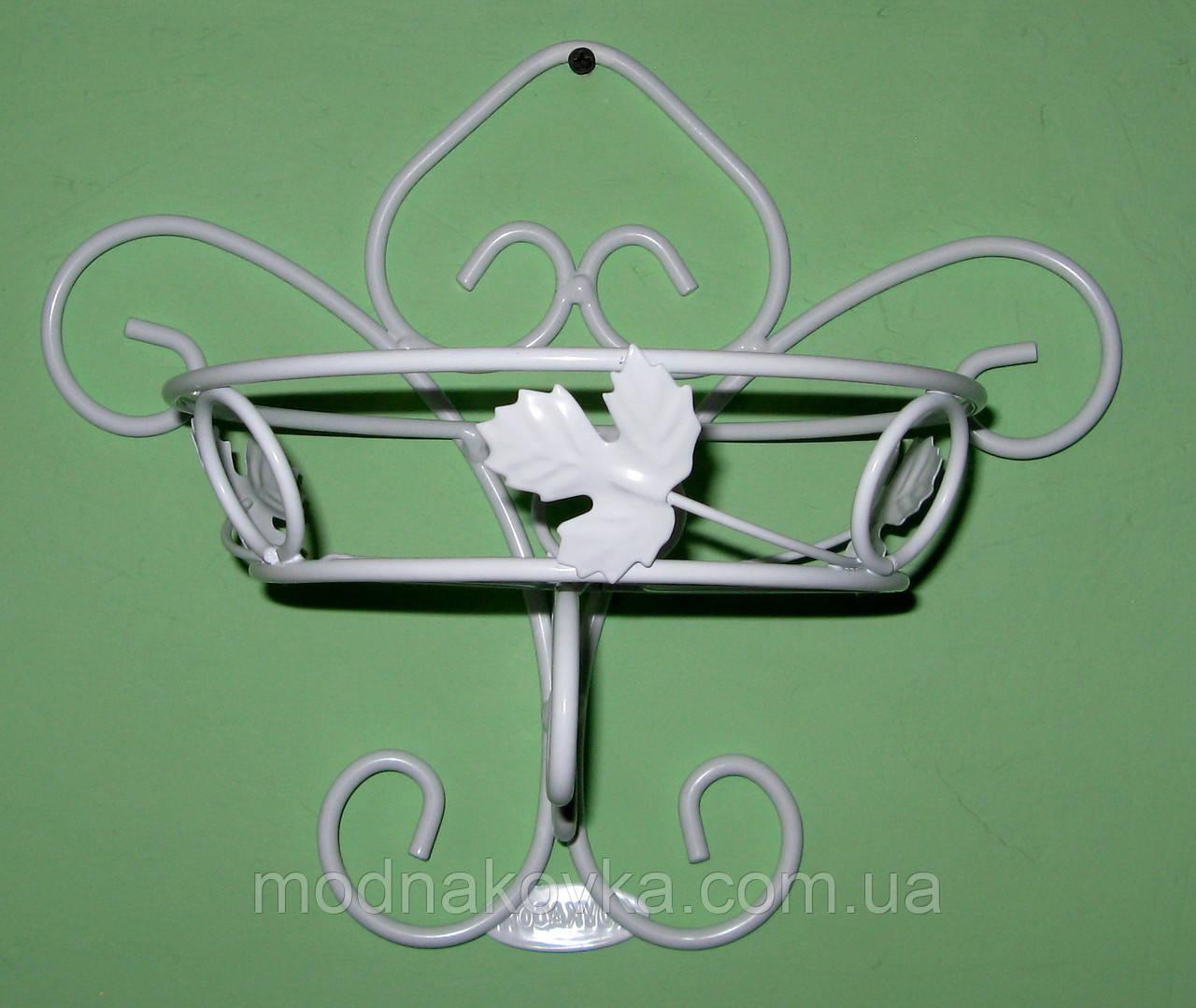 Настенная подставка для цветов кованая Бабочка белая
