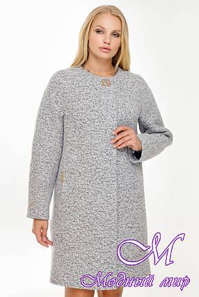 Женское демисезонное пальто букле (р. 44-62) арт. 1018 Тон 4, фото 2