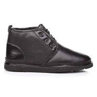 Чоловічі уггі Ugg Naumel Boots Black Leather (Чоловічі шкіряні черевики Уггі чорного кольору), фото 1