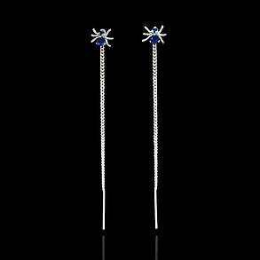 Серебряные серьги-протяжки Паучки, фото 2