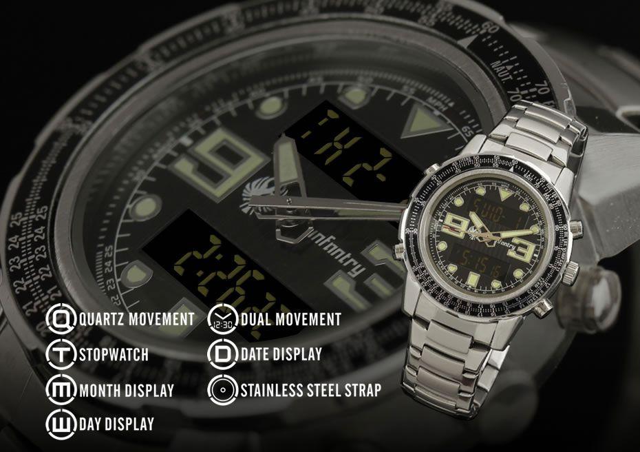 Копия Часы INFANTRY AVIATOR Military Mens Stainles Steel