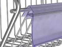 Ценникодержатели стеллажные, держатели для ценников на корзину или проволку KE 39 Прозрачный, фото 2