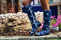 Сапоги джинсовые на подкладке, на низком каблуке. Размеры: 36-42,  код 4168О, фото 1