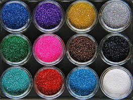 Набор декоративных пигментов глиттеров Спаркл Sparkle 12 шт. в акриловых баночках