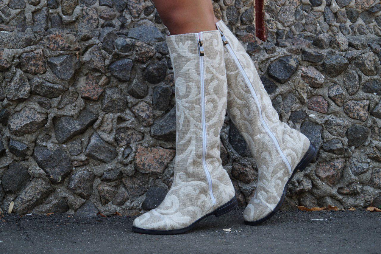 Сапоги лен натуральный на подкладке, на низком каблуке. Размеры: 36-42,  код 4169О