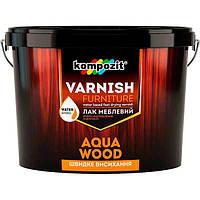 Лак Kompozit Aqua Wood мебельный шелковисто-матовый 0.75 л