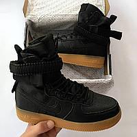 Кроссовки Nike Air Force 1SP черные, мужские и женские, высокие (реплика люкс класса 1:1)