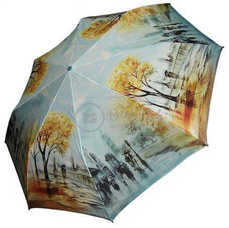 Женский зонт с осенним узором, автомат ZEST Z23945-9, Голубой