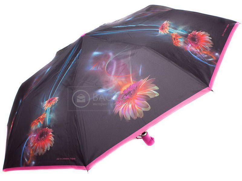 С оригинальным узором женский зонт, автомат ZEST Z23945-16, Черный