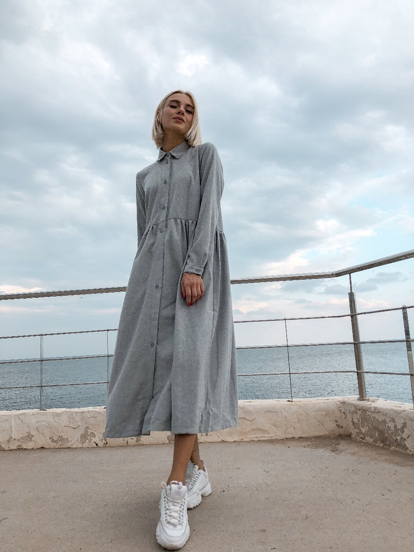 Теплое платье oversize серое