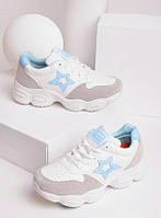 Белые кроссовки женские с серыми вставками 27873, фото 1