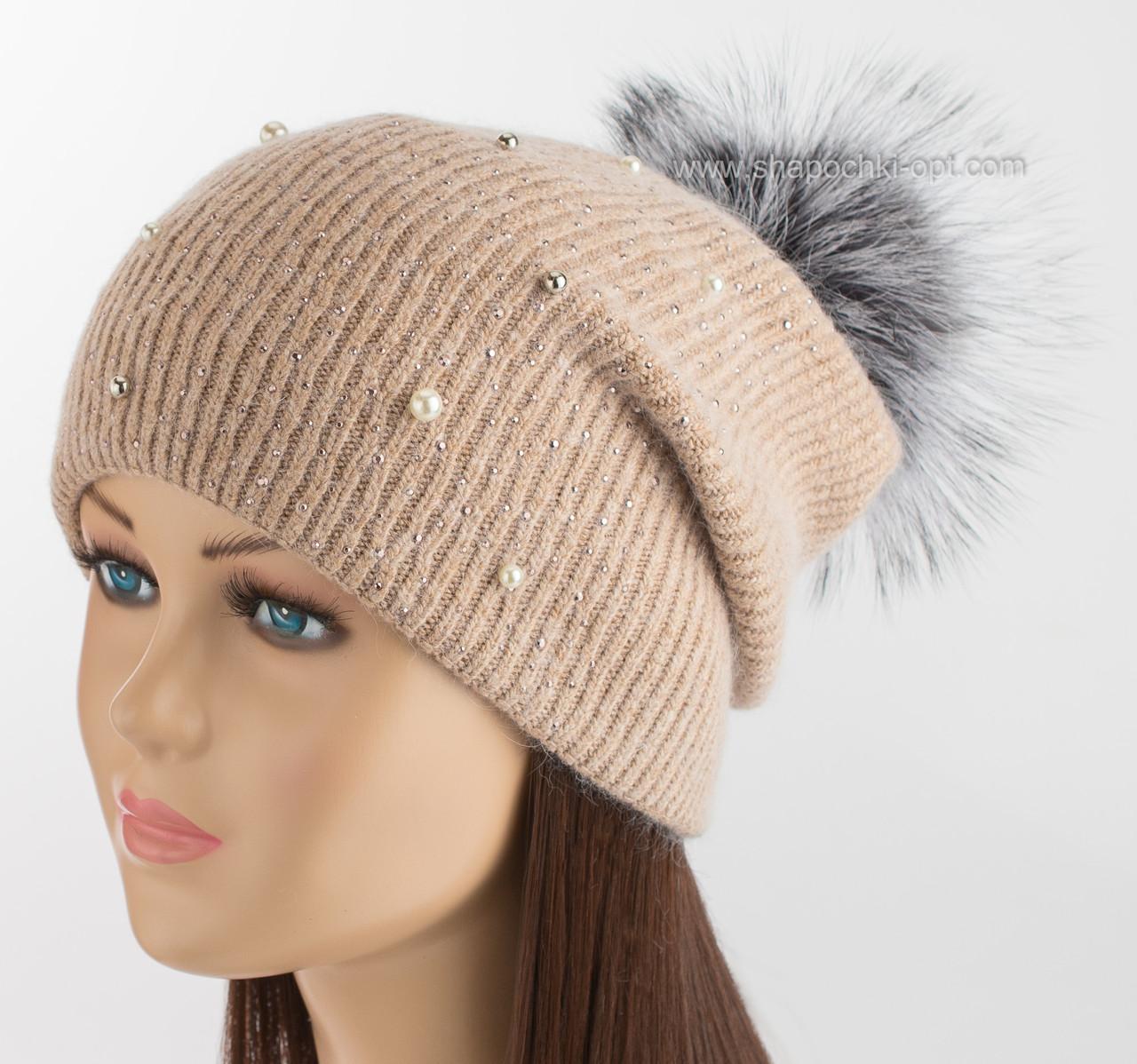 вязаная шапочка с помпоном из чернобурки богема бежевая продажа