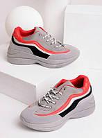 Серые кроссовки женские с красной и черной полосой 27871, фото 1