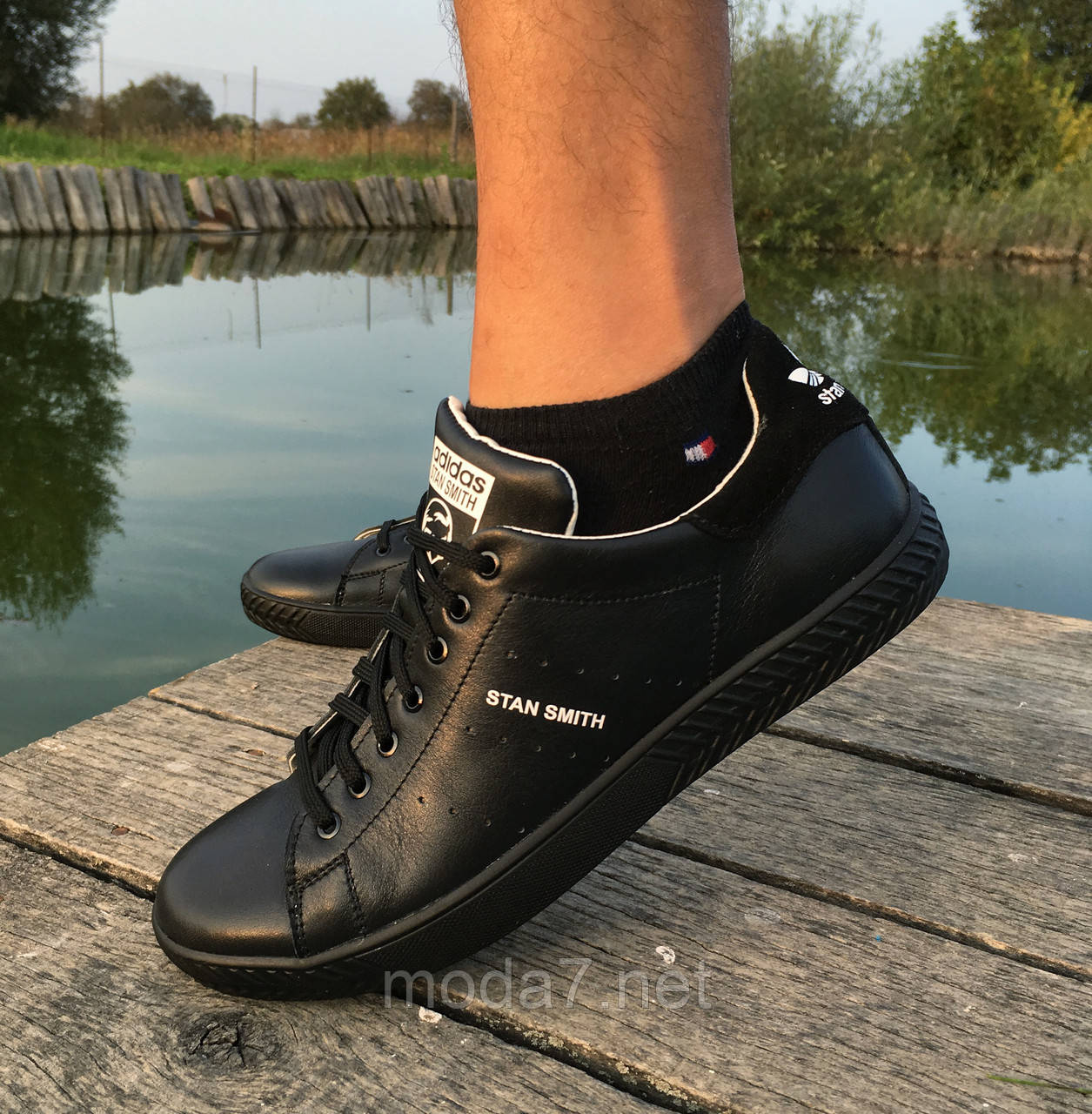Кроссовки - кеды мужские черные Adidas нат. кожа реплика