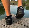 Кроссовки - кеды мужские черные Adidas нат. кожа реплика, фото 2