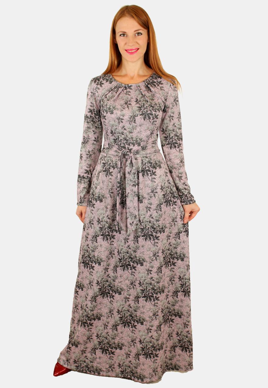 Теплое платье с длинным рукавом 44-50 р ( пудра, голубой )