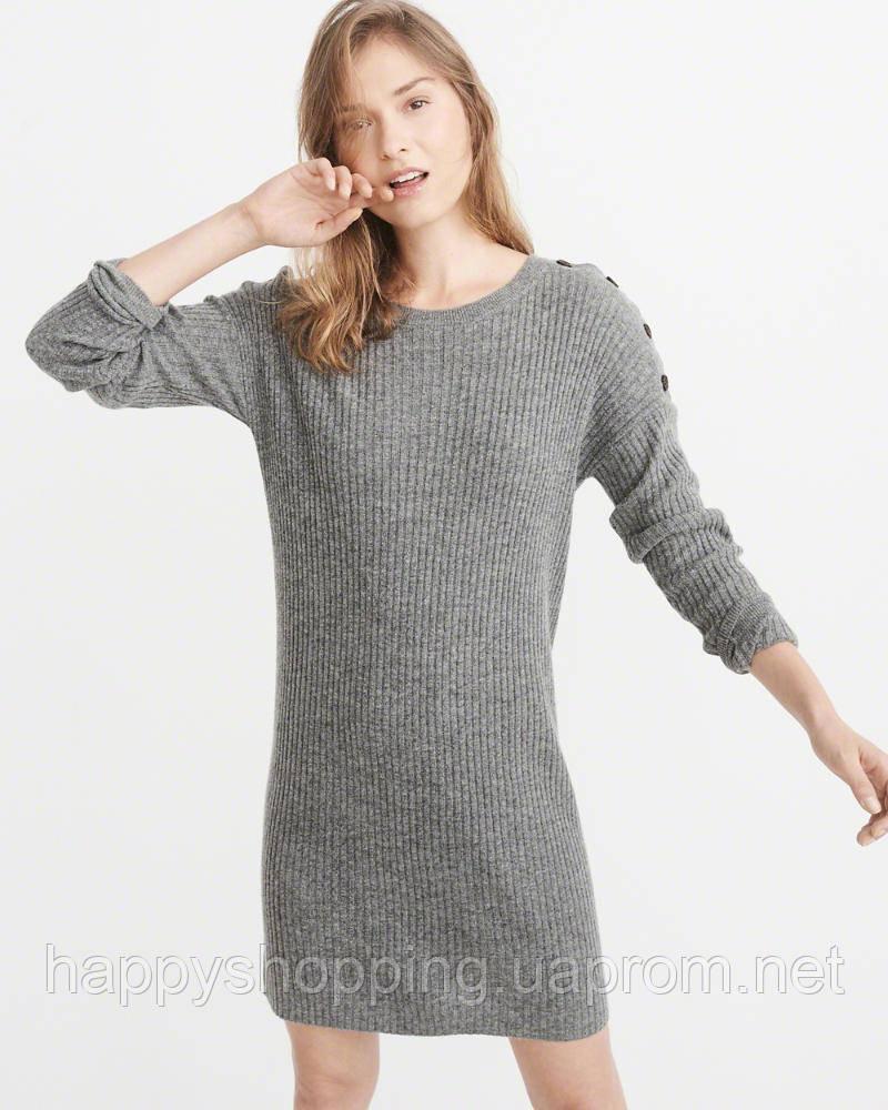 Женское серое шерстяное миди платье Abercrombie & Fitch