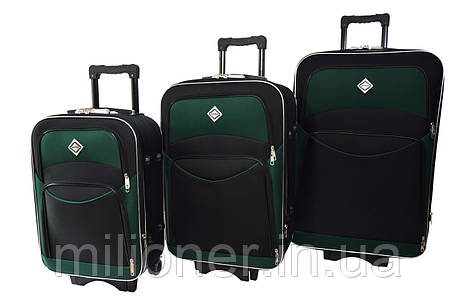 Чемодан Bonro Style набор 3 шт. черно-зеленый, фото 2