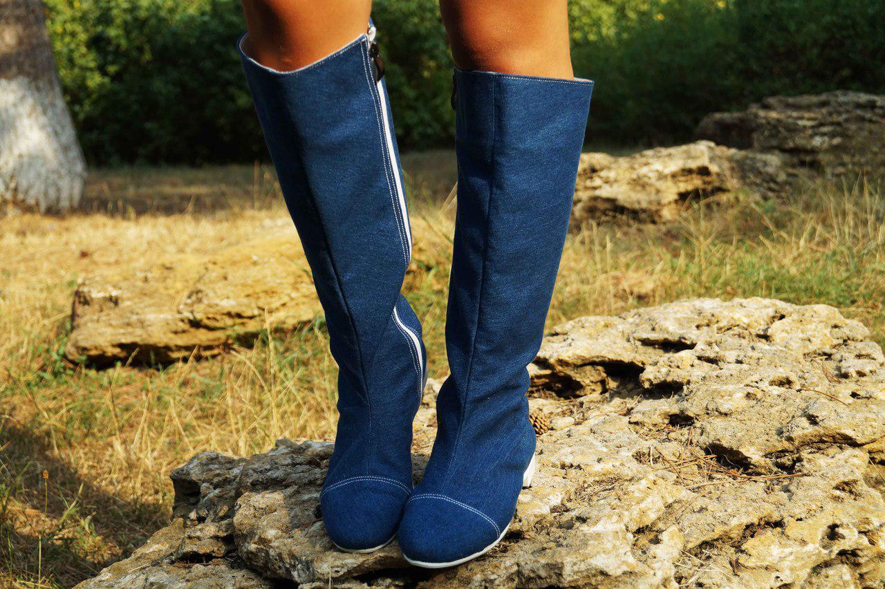 Сапоги джинсовые на подкладке, на низком каблуке. Размеры: 36-42,  код 4172О
