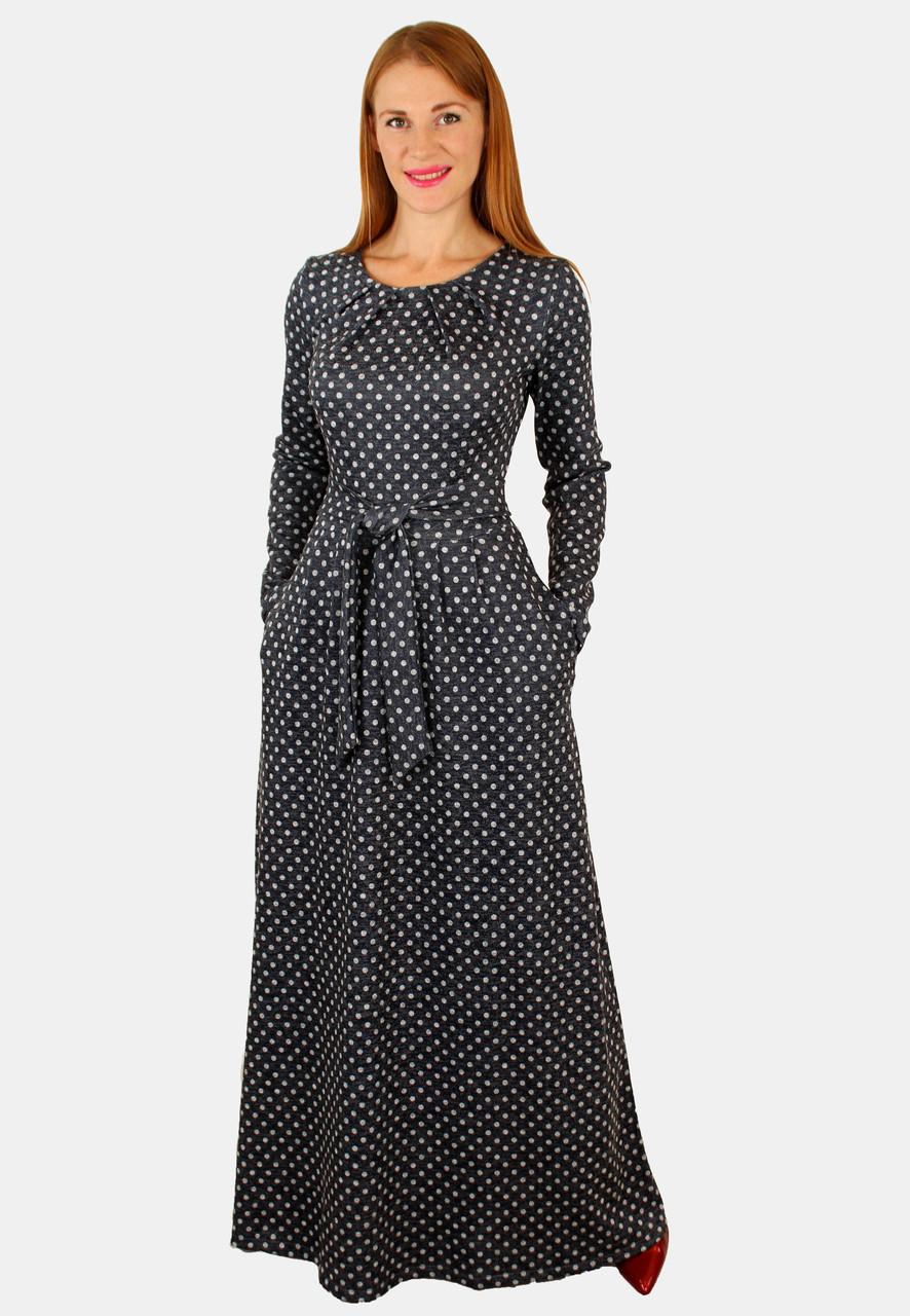 3f274c0a8e5 Теплое длинное платье в горошек 44-46 р   продажа