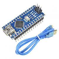 Arduino Nano V3.0 AVR ATmega328P с кабелем mini-USB и распаянными разъёмами