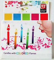 Свечи для торта с разноцветными огоньками (12 штук)