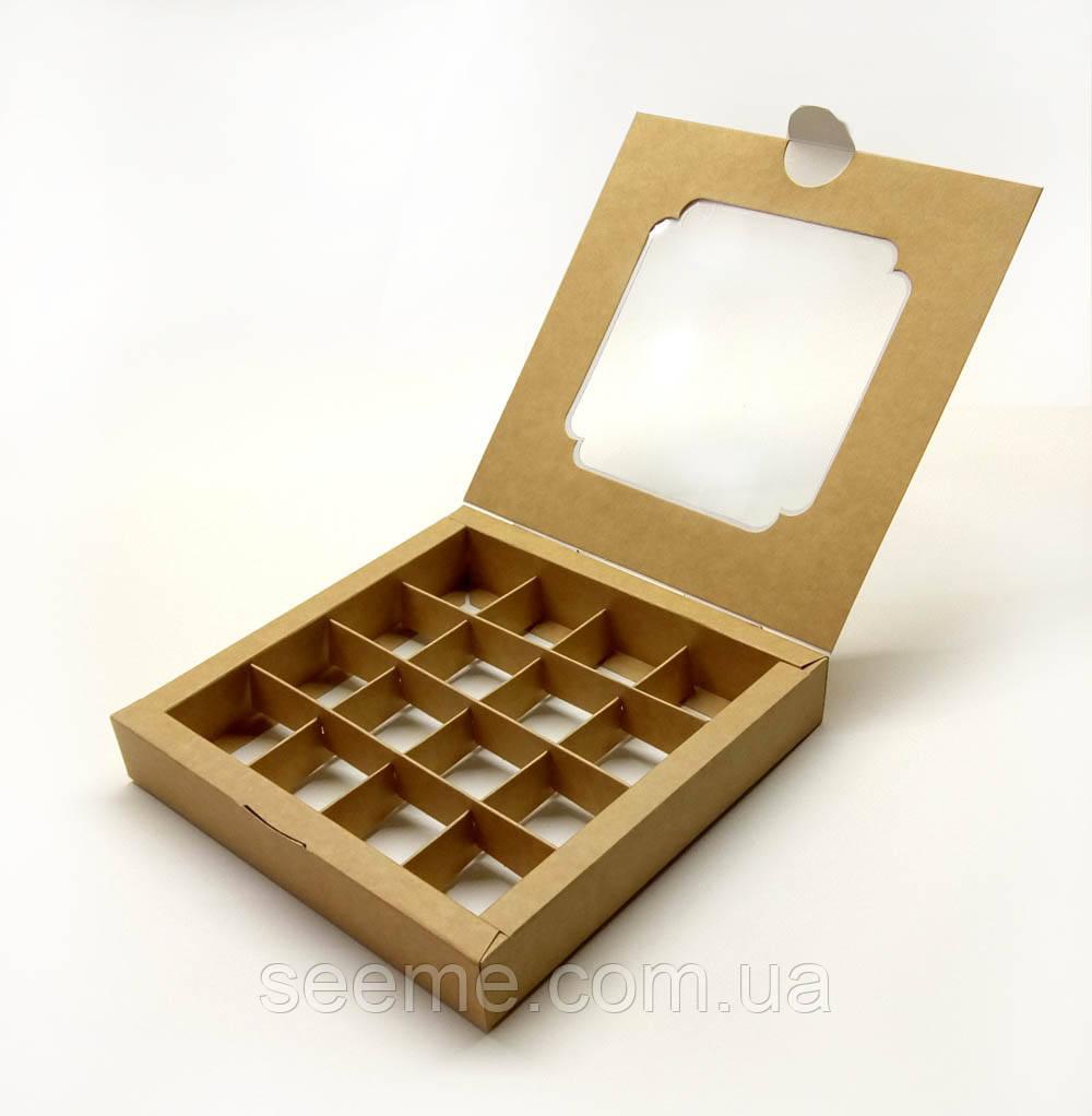 Коробка подарункова із крафт картону з віконцем для 16 цукерок 185х185х30 мм.