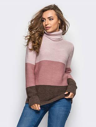 (S-L) Жіночий в'язаний рожево-коричневий светр Karisa