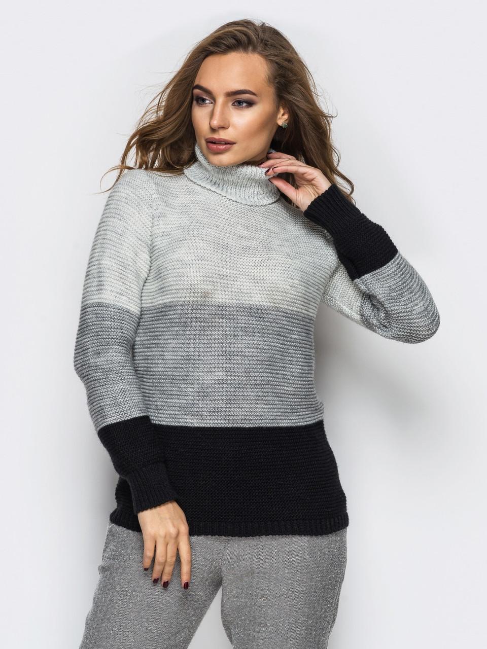 (S-L) Жіночий в'язаний сіро-чорний светр Karisa