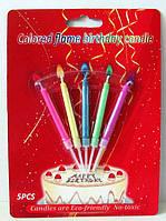 Набор свечей для торта с разноцветными огоньками (5 шт.)