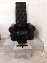 Кресло Трон для педикюра  со стразами, черный