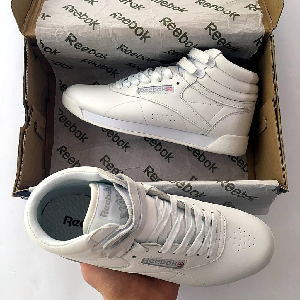 Кроссовки Reebok Freestyle женские, белые, высокие, кожаные ( реплика АА  класса ) b83bd649cf0