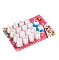 Набор кондитерских насадок для цветов  - 16 шт + адаптер - пластиковые насадки для цветов