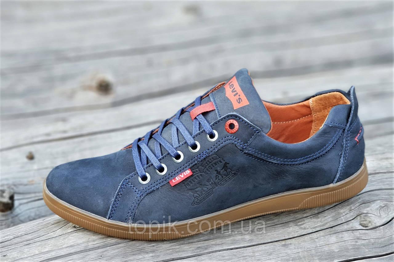 Туфли мокасины мужские Levis реплика стильные натуральная кожа темно синие (Код: 1212)