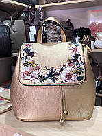 Рюкзак сумка золотой с вышивкой