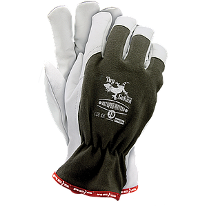 Перчатки RLTOPER-WINTER OW утепленные из высококачественной козьей кожи, бело-зеленого цвета. REIS