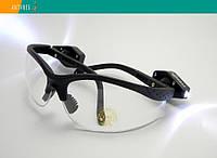 Тактические защитные очки Strelok STR-Flash прозрачные с LED-подсветкой регулируемые заушники, фото 1