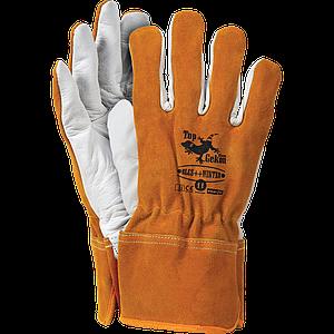 Перчатки защитные RLCS++WINTER PW 11 из высококачественной яловой кожи,бело-оранжевого цвета . REIS