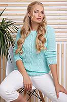 Стильный женский свитер с красивыми узорами большой размер цвет мята