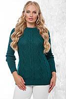 Женский вязаный свитер с круглой горловиной и узорами спереди, большой размер, цвет изумрудный