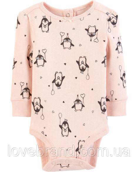 """Коллекционный боди на длинный рукав  для девочки OshKosh """"Пингвин"""" 3-6 мес 61-69 см"""