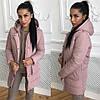 Теплая женская куртка плащевка с накладными карманами 4101112