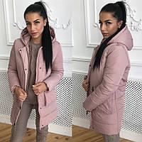 Теплая женская куртка плащевка с накладными карманами 4101112, фото 1