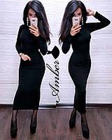 Платье-гольф из ангоры-рубчик длиной миди 8031877