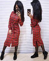 Клетчатое платье-рубашка длиной миди 41031878