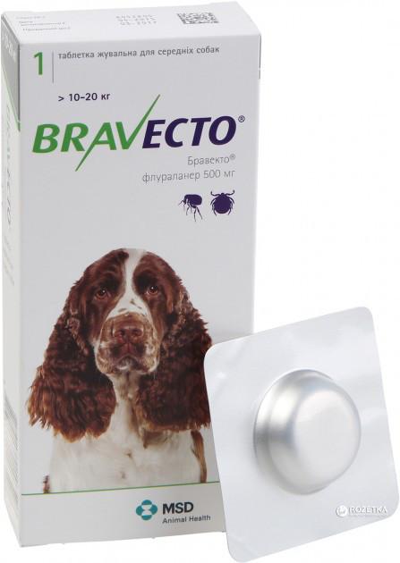 Таблетка Бравекто от блох и клещей для собак 10 - 20 кг