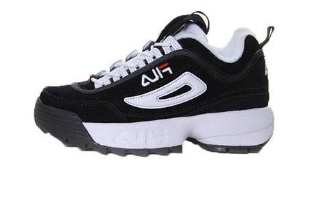 Женские кроссовки Fila Disruptor II Black White (Реплика ААА класса), фото 2 ba9b86d48c0