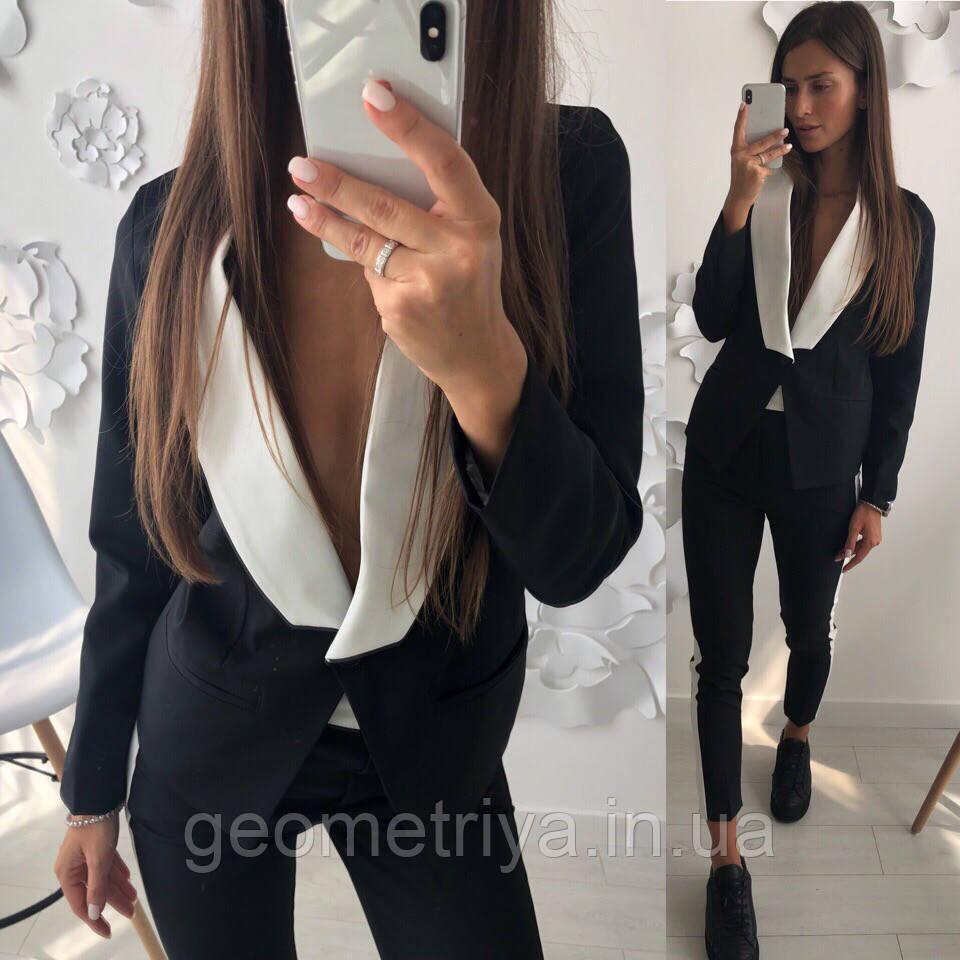 63f8408e308 Новинка!!!! Деловой женский брючный костюм с пиджаком черного цвета ...